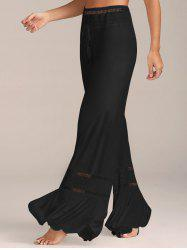 Lace Insert High Waisted Flowy Palazzo Pants - BLACK