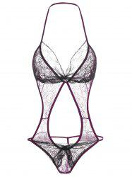 Lace Insert See Thru Halter Backless Teddy -