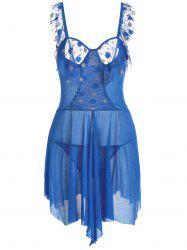 Low Cut Mesh Sheer Flounce Cami Babydoll - BLUE ONE SIZE