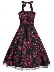 Halter Floral Print Belted Retro Style Dress -