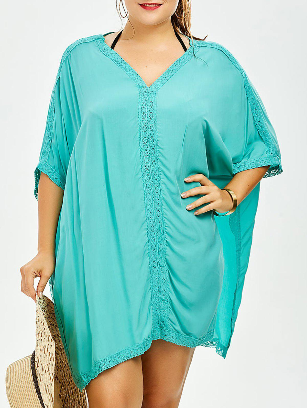 Plus Size V Neck Dolman Sleeve Cover-UpWOMEN<br><br>Size: ONE SIZE; Color: LIGHT GREEN; Gender: For Women; Swimwear Type: Cover-Up; Material: Polyester; Pattern Type: Solid; Waist: Natural; Weight: 0.2800kg; Package Contents: 1 x Cover-Up;