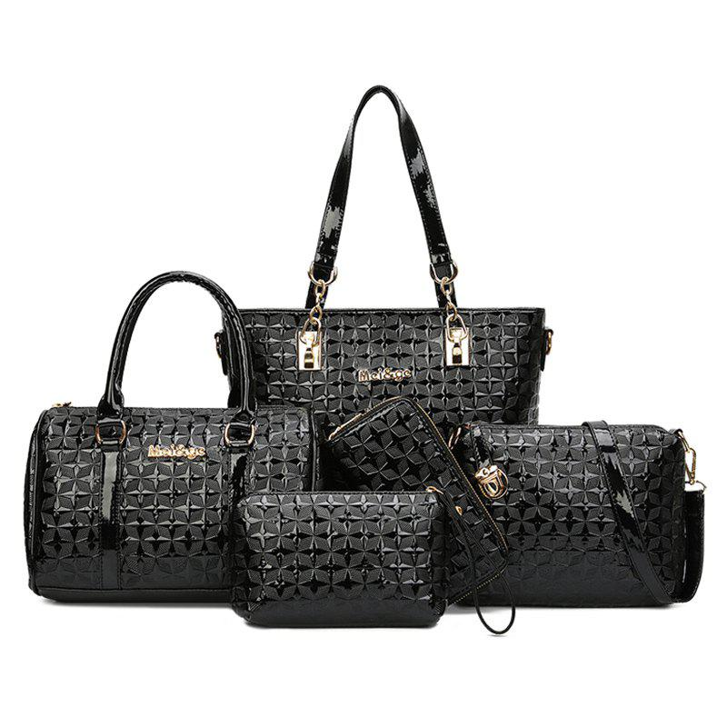 Latest 5 Pieces Rhombic Embossed Handbag Set