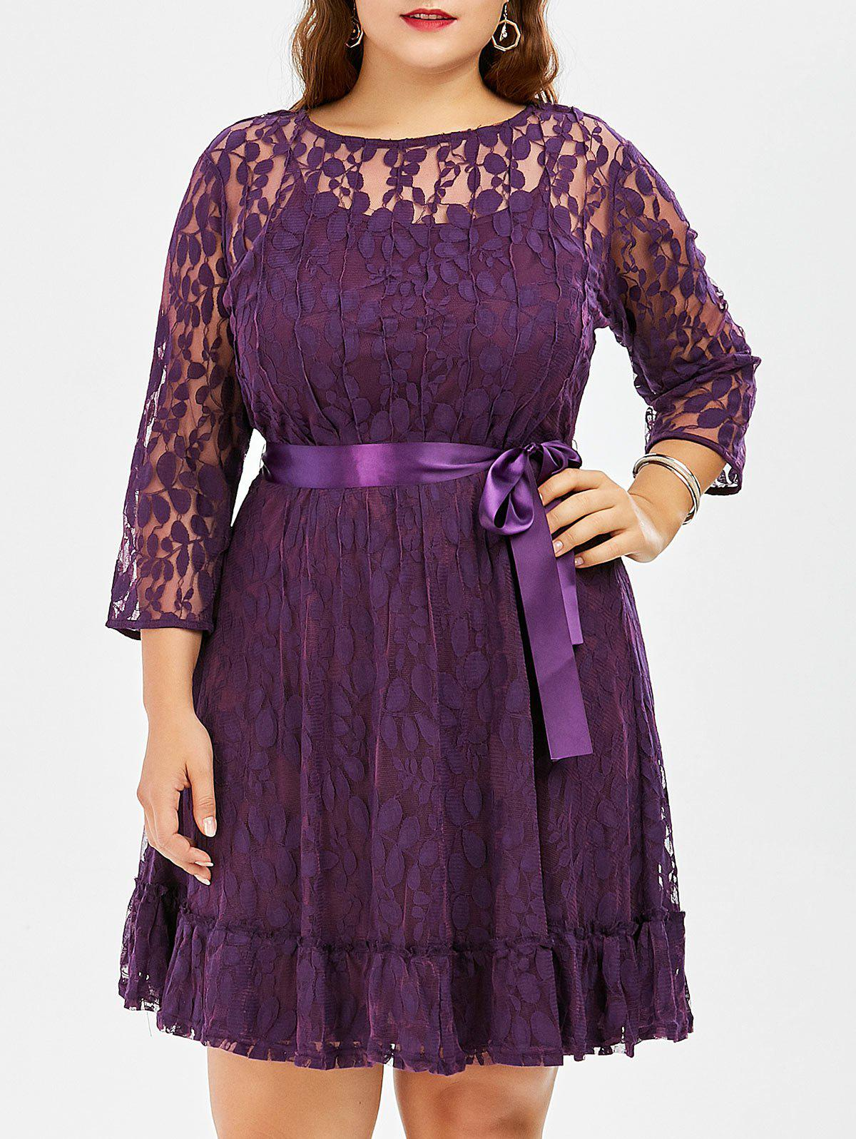 Fancy Lace Plus Size Skater Dress with Sleeves