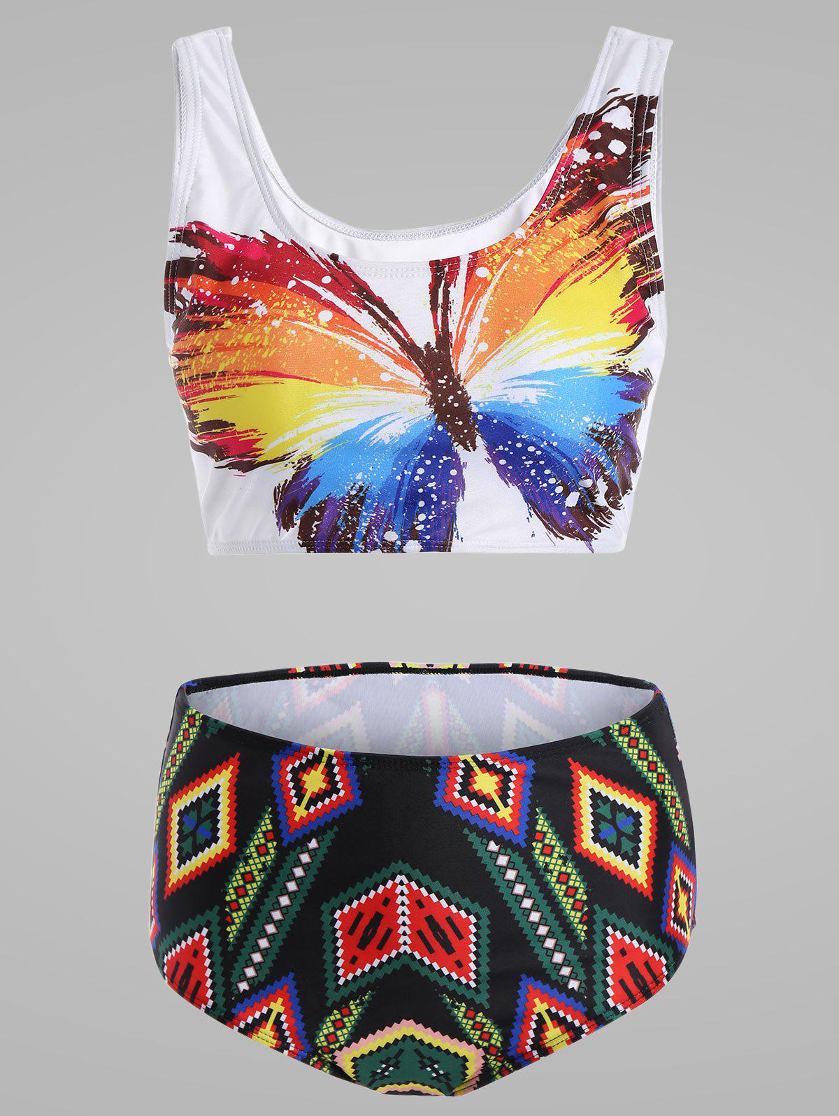 Outfit Plus Size Butterfly Print Cute High Waisted Bikini