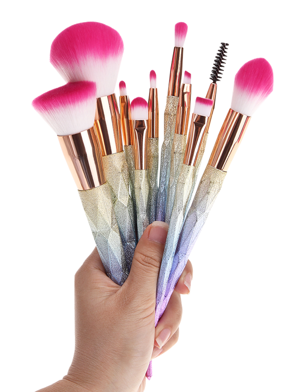 10 Pcs Glitter Rainbow Makeup Brushes SetBEAUTY<br><br>Color: COLORMIX; Category: Makeup Brushes Set; Brush Hair Material: Synthetic Hair; Season: Fall,Spring,Summer,Winter; Weight: 0.1500kg; Package Contents: 10 x Brushes (Pcs);