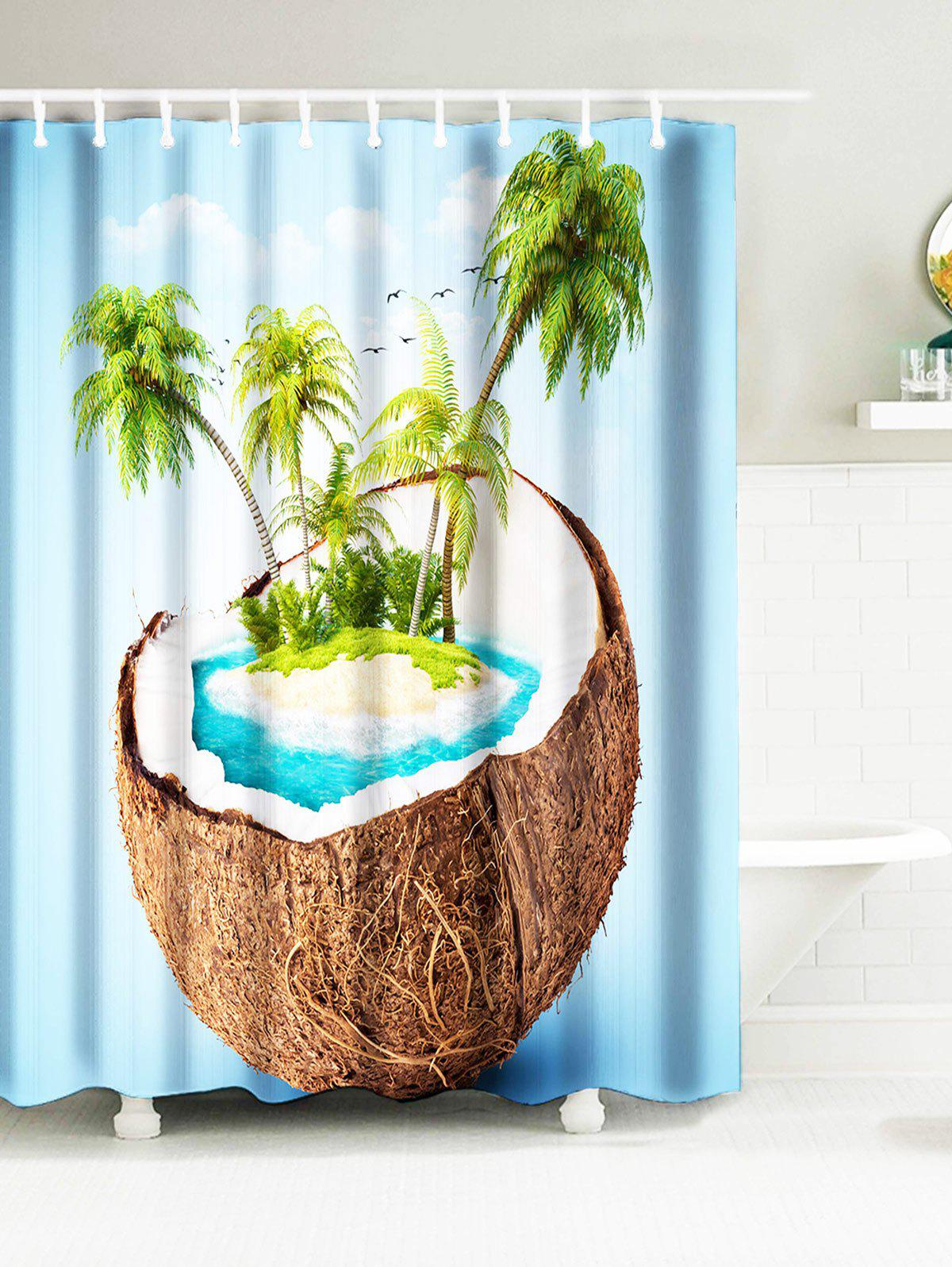 Tropical Coconut Tree Island Water Resistant Fabric Shower Curtains