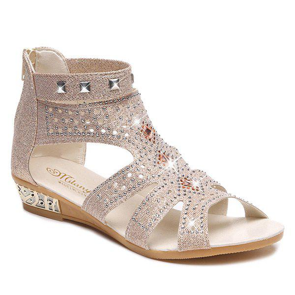 Rivets Rhinestones Low Wedge SandalsSHOES &amp; BAGS<br><br>Size: 38; Color: APRICOT; Gender: For Women; Sandals Style: Gladiator; Closure Type: Zip; Shoe Width: Medium(B/M); Pattern Type: Solid; Embellishment: Rhinestone; Occasion: Casual; Upper Material: Sequined Cloth; Style: Leisure; Weight: 1.2000kg; Heel Height Range: Low(0.75-1.5); Heel Height: 3CM; Heel Type: Wedge Heel; Package Contents: 1 x Sandals (pair);
