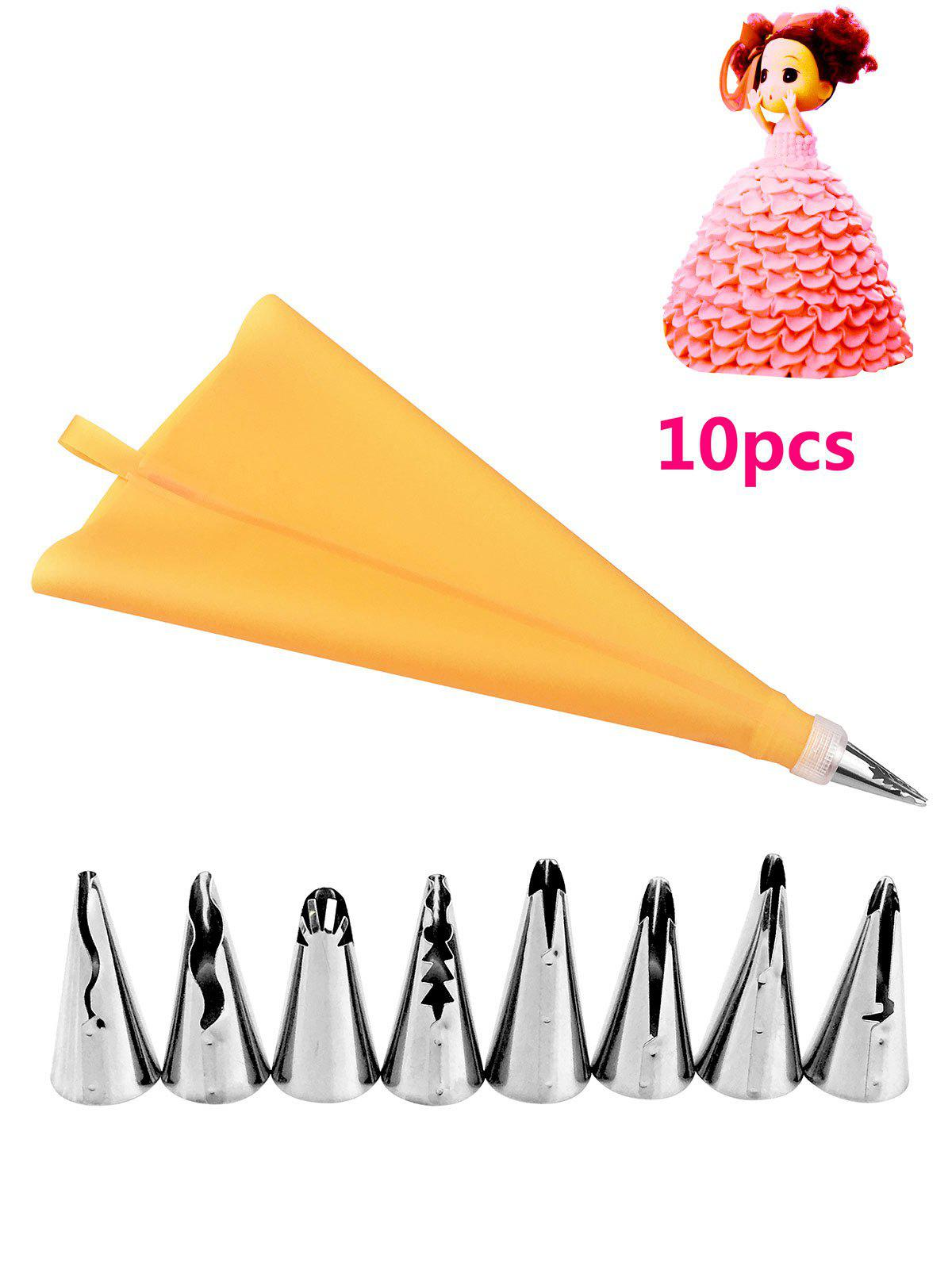 DIY Cake Decorating Squeeze Cream Stainless Steel Piping Nozzle SetHOME<br><br>Color: ORANGE; Material: Stainless Steel; Weight: 0.0840kg; Package Contents: 1 x Cake Piping Bag, 1 x Cake Piping Bag Adapter, 8 x Stainless Steel Nozzle Mouth;