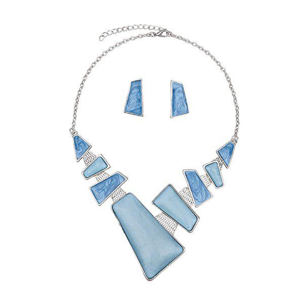 Artificial Gemstone Geometric Necklace and EarringsJEWELRY<br><br>Color: BLUE; Item Type: Pendant Necklace; Gender: For Women; Necklace Type: Link Chain; Style: Trendy; Shape/Pattern: Geometric; Length: 51.6CM (Necklace) /3.3CM (Earring); Weight: 0.1200kg; Package Contents: 1 x Necklace 1 x Earring (Pair);