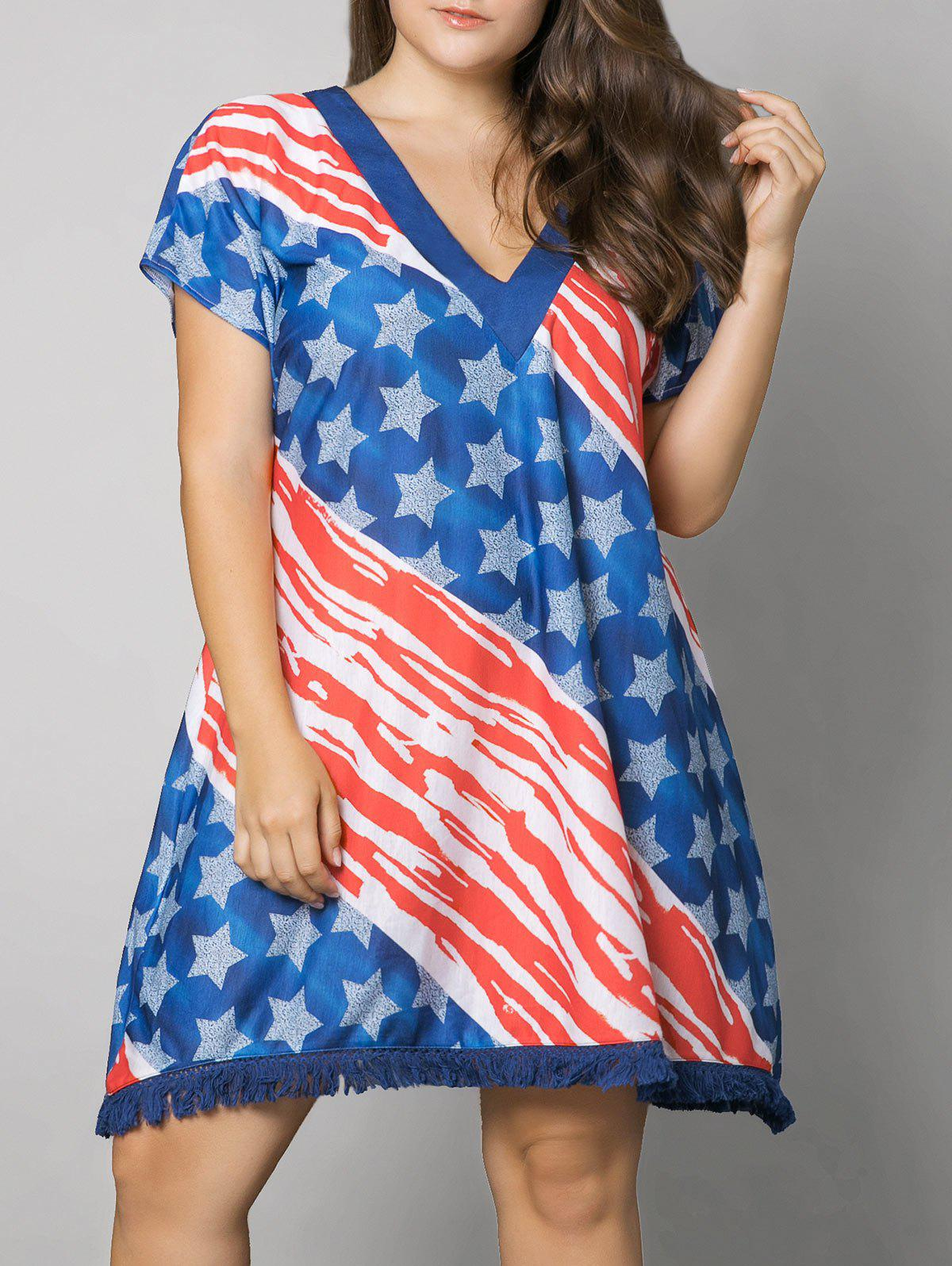 New Plus Size Tassel American Flag Print Dress