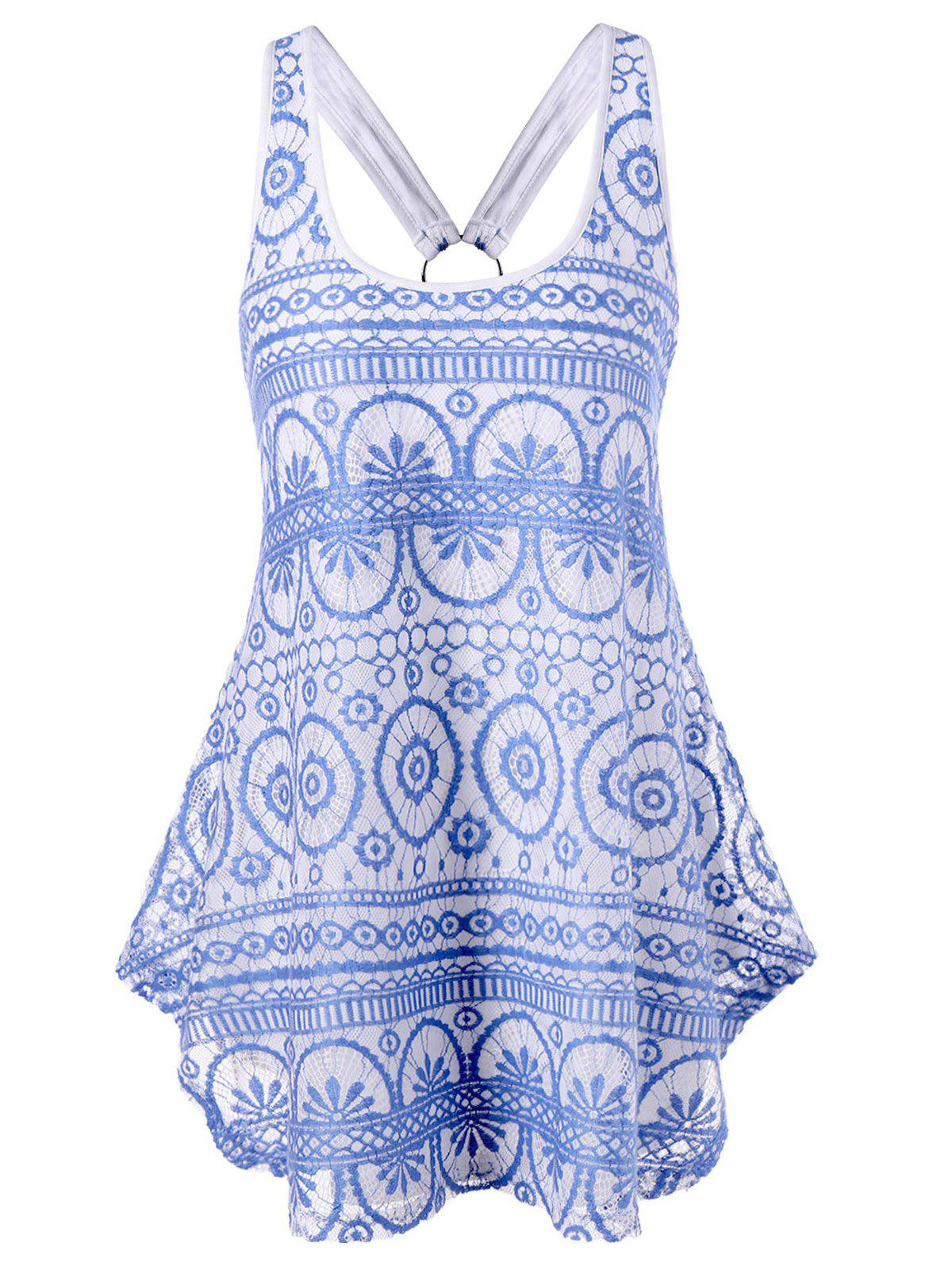 Hot Racerback Lace Asymmetric Dressy Tank Top
