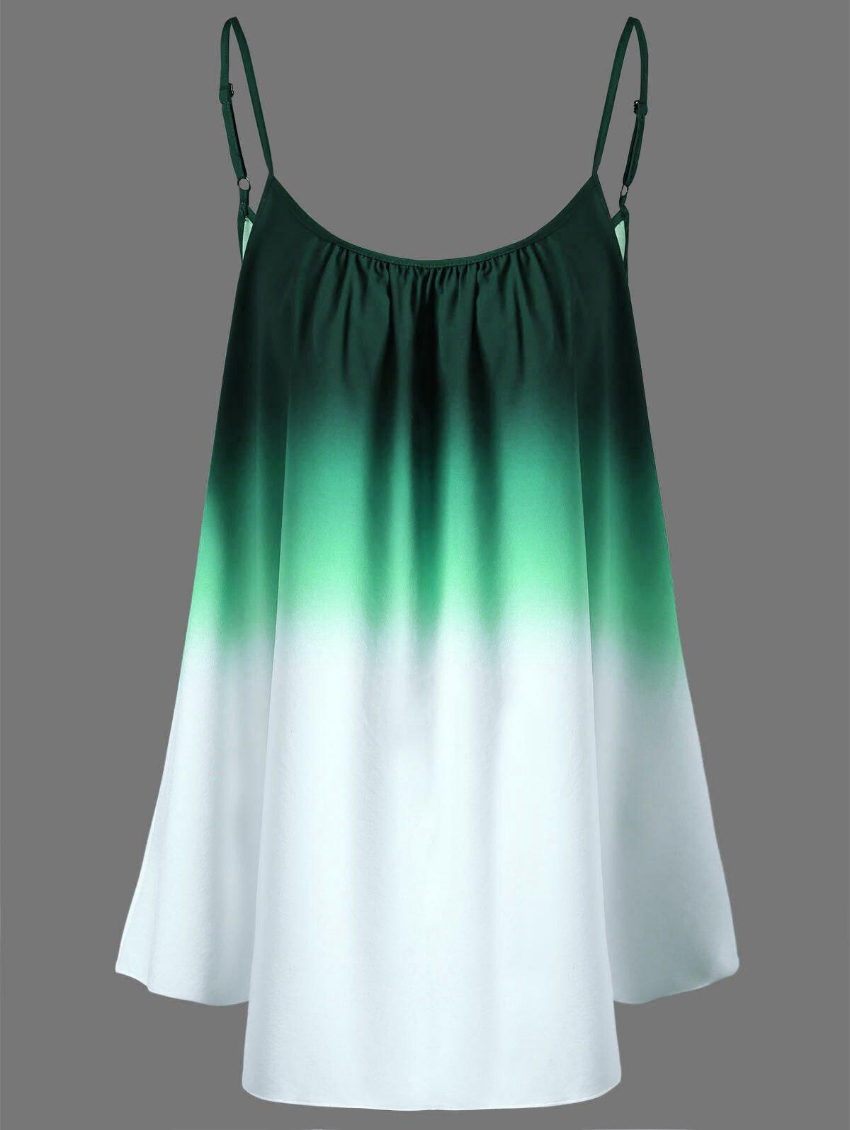 Ombre Plus Size Cami TopWOMEN<br><br>Size: 2XL; Color: GREEN; Material: Cotton,Cotton Blends,Polyester; Shirt Length: Regular; Sleeve Length: Sleeveless; Collar: Spaghetti Strap; Style: Fashion; Season: Spring,Summer; Pattern Type: Print; Weight: 0.1400kg; Package Contents: 1 x Top;