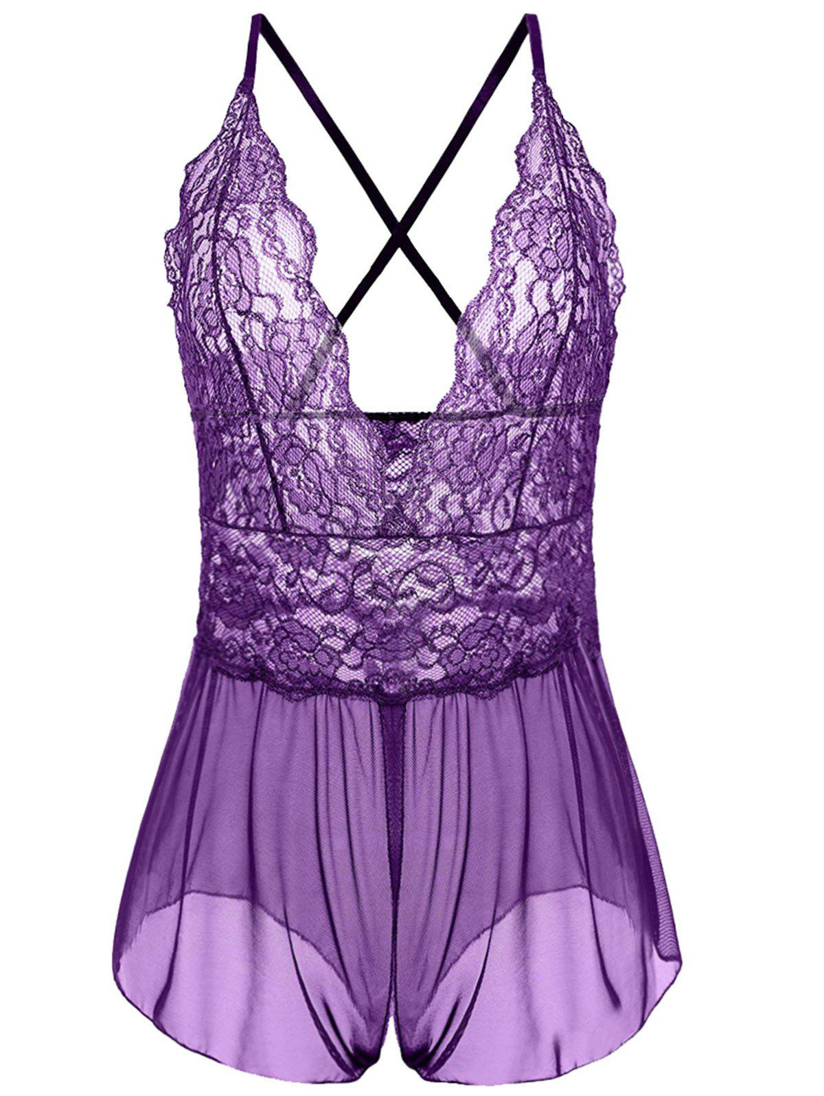 Plus Size Plunging Neck See Through BabydollWOMEN<br><br>Size: 3XL; Color: PURPLE; Material: Polyester; Pattern Type: Solid; Embellishment: None; Weight: 0.1300kg; Package Contents: 1 x Babydoll;