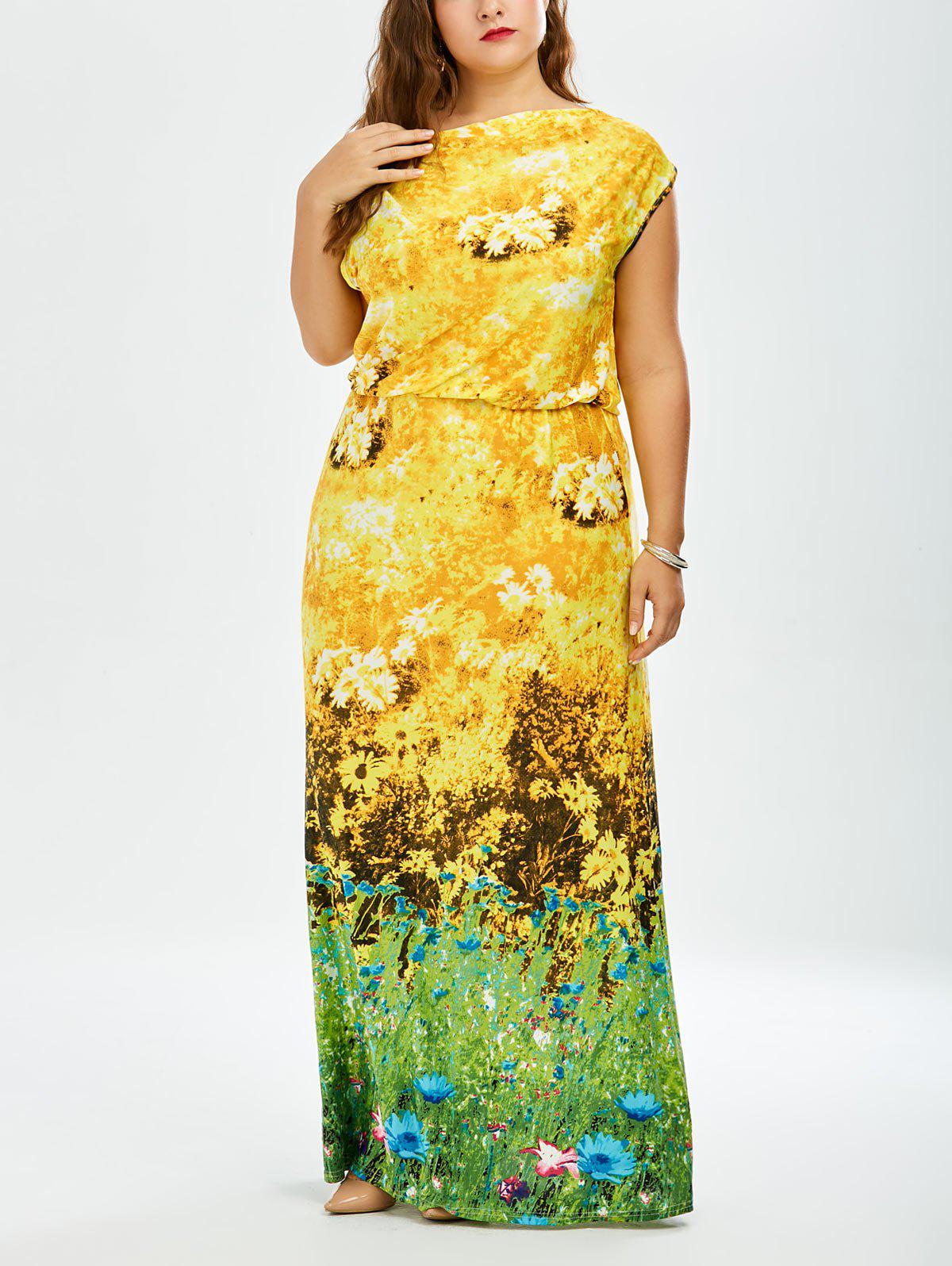 923163af572 39% OFF  Sunflower Printed Long Plus Size Maxi Dress
