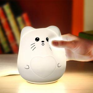 Color Change USB Charge Cartoon Cat Silicone LED Night Light - White - Pattern C