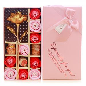 Mother's Day Gift Artificial Plated Rose with Soap Flowers Gift Box