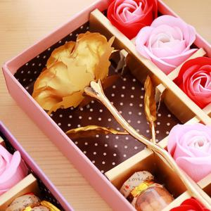 Mother's Day Gift Artificial Plated Rose with Soap Flowers Gift Box - GOLDEN