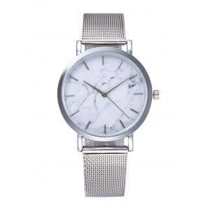 Marble Texture Steel Mesh Strap Quartz Watch