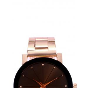 Rhinestone Alloy Strap Wrist Watch - ROSE GOLD