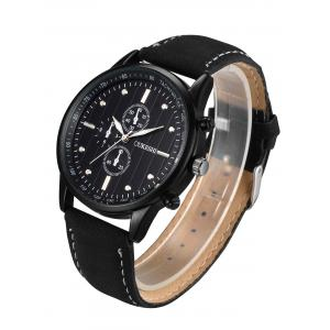 Faux Leather Strap Number Quartz Wrist Watch - BLACK