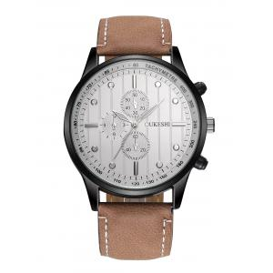 Faux Leather Strap Number Quartz Wrist Watch