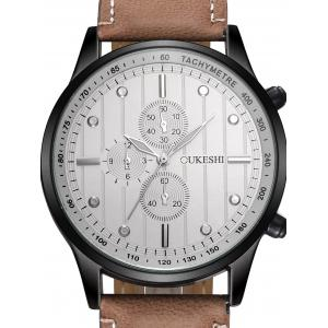 Faux Leather Strap Number Quartz Wrist Watch - WHITE/BROWN
