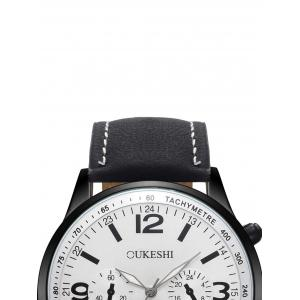 Faux Leather Strap Quartz Wrist Watch -