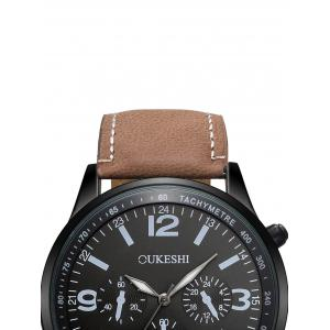 Faux Leather Strap Quartz Wrist Watch - BLACK/BROWN