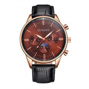 Faux Leather Strap Quartz Watch - Red With Black - L