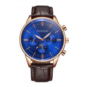 Faux Leather Strap Quartz Watch - Blue And Brown