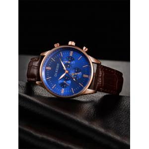 Faux Leather Strap Quartz Watch - BLUE/BROWN