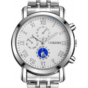 Alloy Strap Roman Numeral Wrist Quartz Watch - WHITE