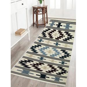 Geometric Water Absorption Crystal Velvet Fabric Skidproof Rug - Light Yellow - W16 Inch * L47 Inch