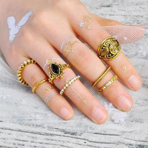 Engraved Rhinestoned Mid Finger Gypsy Ring Set - Golden - One-size