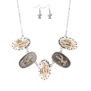 Metal Plated Cactus Emboss Necklace and Earrings