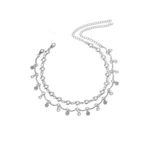 Faux Crystal Metal Rounds Embellished Necklace - Silver - Xl
