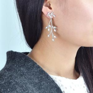 Artificial Diamond Branch Shape Asymmetric Earrings - Silver