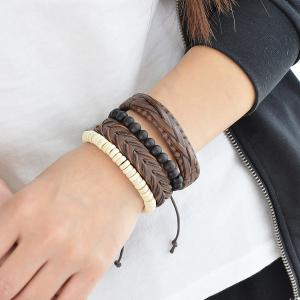 Beads Layered Braid Faux Leather Friendship Bracelets