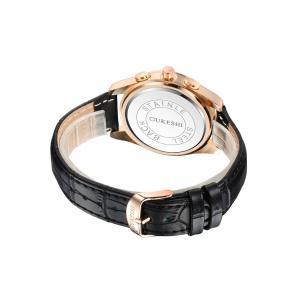 Faux Leather Strap Date Quartz Wrist Watch - BLACK