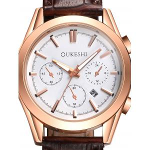 Faux Leather Strap Date Quartz Wrist Watch -