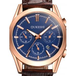 Faux Leather Strap Date Quartz Wrist Watch - BLUE / BROWN