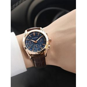 Faux Leather Strap Date Quartz Wrist Watch - BLUE + BROWN
