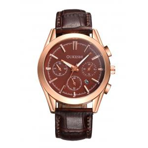 Faux Leather Strap Date Quartz Wrist Watch - Brown