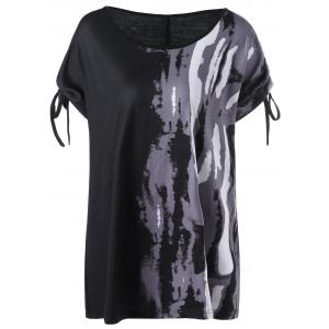 Tie Sleeve Tie Dye Graphic Plus Size T-Shirt - Black - 4xl