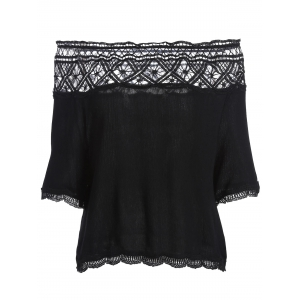 Off The Shoulder Lace Trim Chiffon Blouse - Black - S