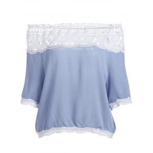 Off The Shoulder Lace Trim Chiffon Blouse