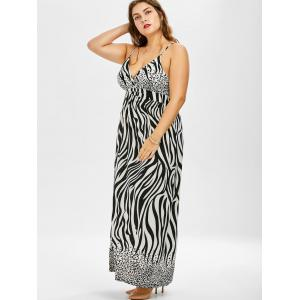 Plus Size Long Zebra Print Maxi Slip Beach Dress -