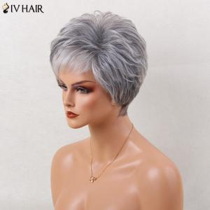 Siv Hair Short Layered Side Bang Slightly Curled Colormix Human Hair Wig - GREY/WHITE