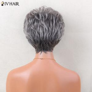 Siv Hair Short Layered Side Bang Slightly Curled Colormix Human Hair Wig - GREY AND WHITE