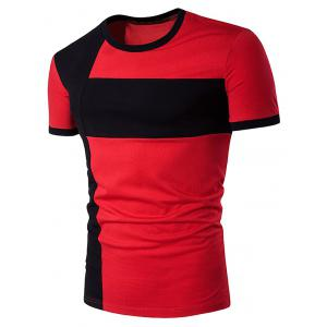 Color Block Cross Panel Short Sleeve T-Shirt - Red - 2xl